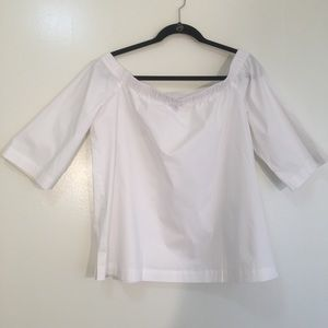 Ann Taylor white 3/4 sleeves off the shoulder top